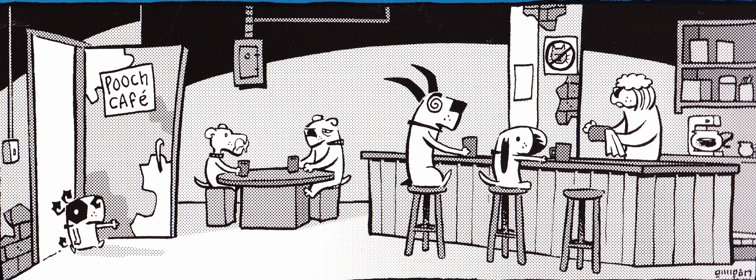 C:\Users\Robert\Documents\CARTOONING ILLUSTRATION ANIMATION\IMAGE CARTOON\IMAGE CARTOON P\POOCH CAFE, All Dogs Know Naturally How To Swim, 2003, bc.jpg
