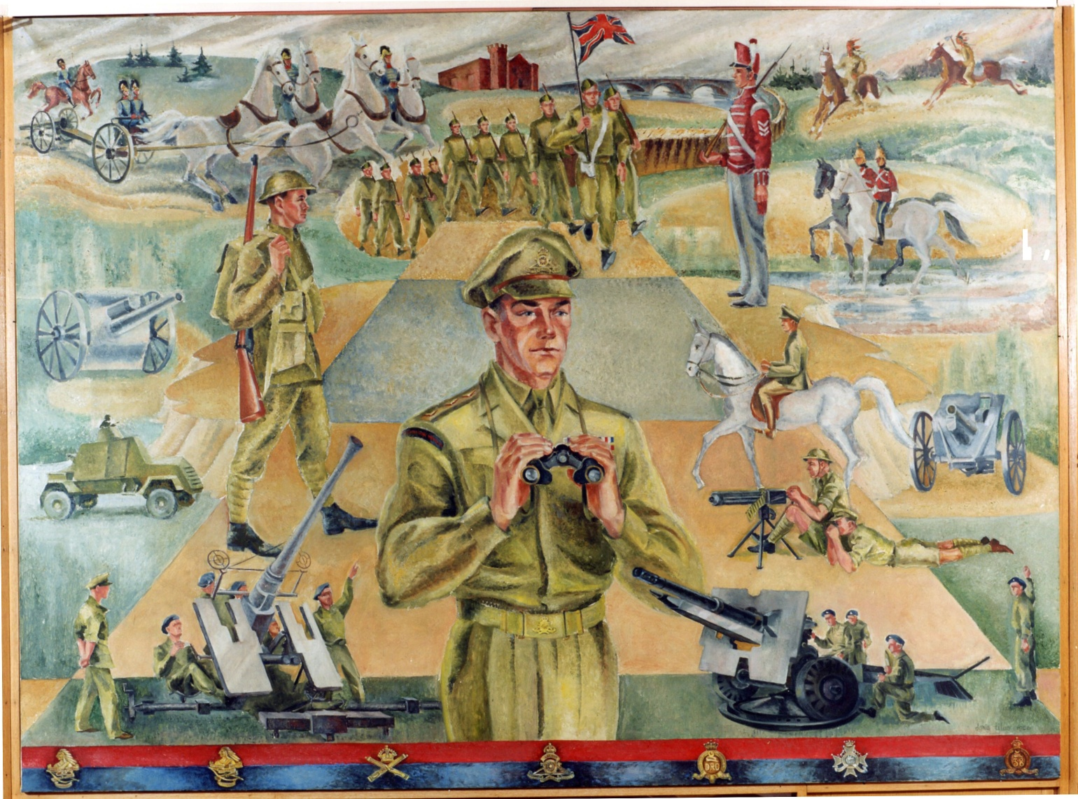 C:\Users\Robert\Documents\CANADIAN CARTOONING ILLUSTRATION and ANIMATION\IMAGE BY CARTOONIST\1956 TITUS Doris, mural- 56th Field Artillery Regt history fixed.jpg