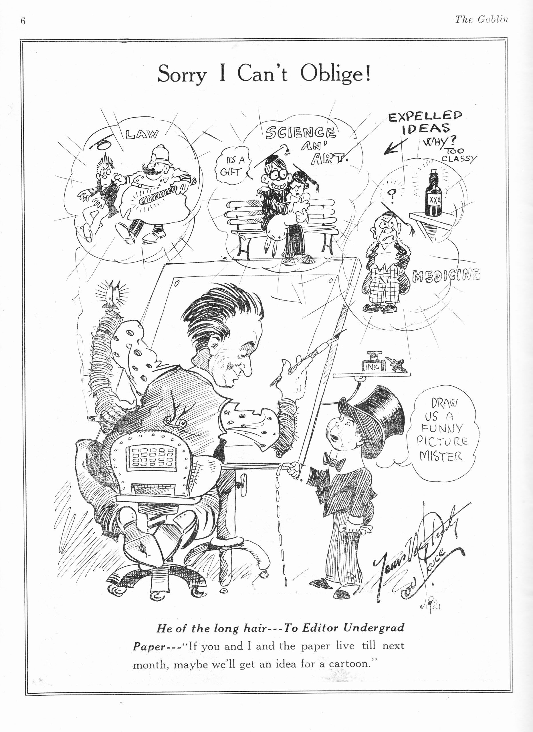 C:\Users\Robert\Documents\CANADIAN CARTOONING ILLUSTRATION and ANIMATION\IMAGE BY CARTOONIST OR ILLUS. S\SKUCE Lou, Self Portrait, Goblin 1-1, Feb. 1921,6.jpg