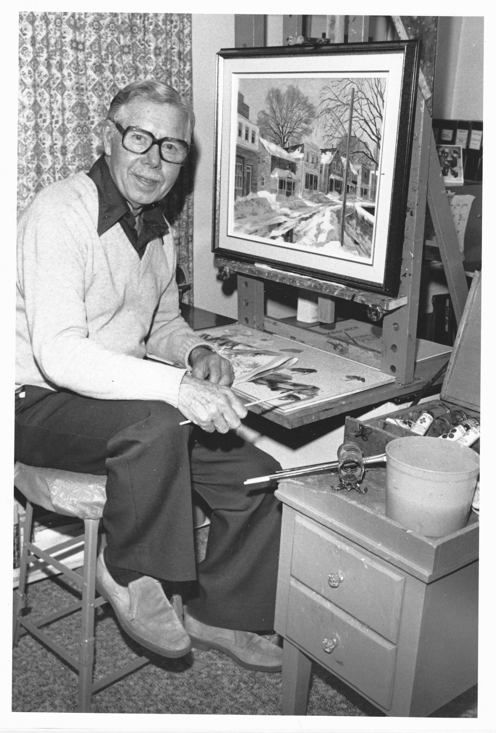 C:\Users\Robert\Documents\CARTOONING ILLUSTRATION ANIMATION\IMAGE OF PERSON\F\FURNESS Ed, retired and painting Nov 1981.jpg